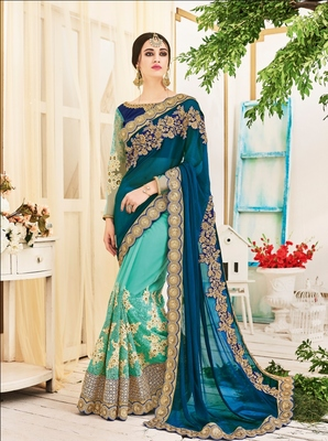 Blue embroidery geogrette saree with blouse