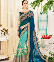 Buy Blue embroidery geogrette saree with blouse bridal-saree online