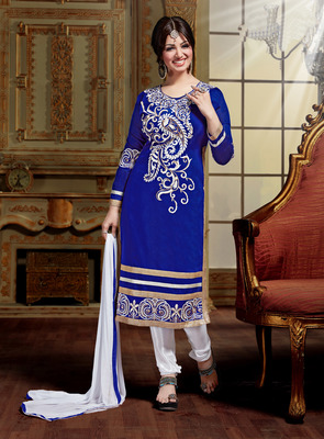 Blue embroidered Chanderi unstitched salwar with dupatta