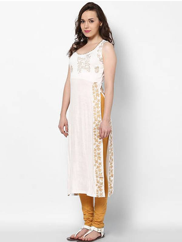 buy kukn114 white viscose long slit kurti online