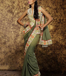 Buy Dark olive embroidered silk saree with blouse party-wear-saree online