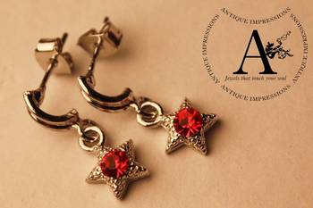 Blood Red Stone Crystal Star Shape Crystal Shell Earrings Brushed Silver attached Red Colored Gemstone