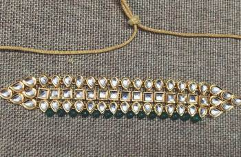 Kundan and Green Onyx Gemstone Choker Necklace