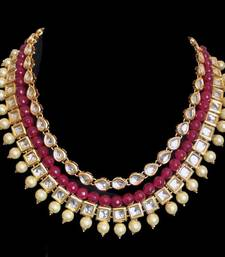 Buy Kundan and Red Onyx Gemstone Layered Necklace Necklace online