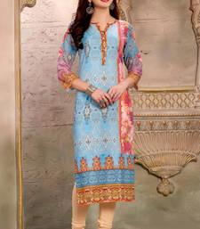 Buy Blue cotton printed stitched kurti cotton-kurti online