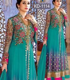 Buy Sky blue embroidered net salwar anarkali-salwar-kameez online