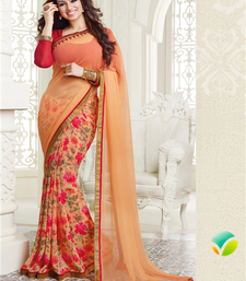 Buy Orange floral print georgette saree with blouse georgette-saree online