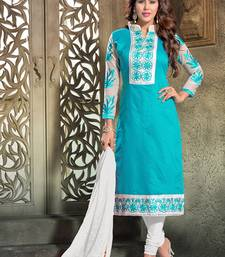 Buy SKY BLUE CHANDERI EMBROIDERED STRAIGHT SUIT DRESS MATERIAL straight-suit online