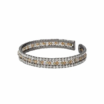 Natural Beads and Rhinestones Italian Designer Cuffs-Aveza Aegean Beaded Cuff