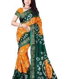 Buy Green printed cotton silk saree with blouse bandhani-sarees-bandhej online
