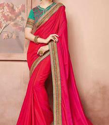 Buy Dark pink embroidered art silk saree with blouse art-silk-saree online