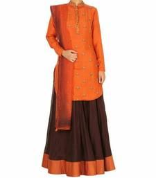 Buy Orange and coffe embroidered semi stitched Lehengas with dupatta bridal-lehenga online