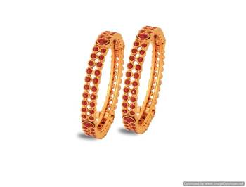 Just Women - Gold plated Kada studded with Rubies