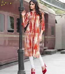 Buy Orange printed cotton party wear kurtis party-wear-kurti online