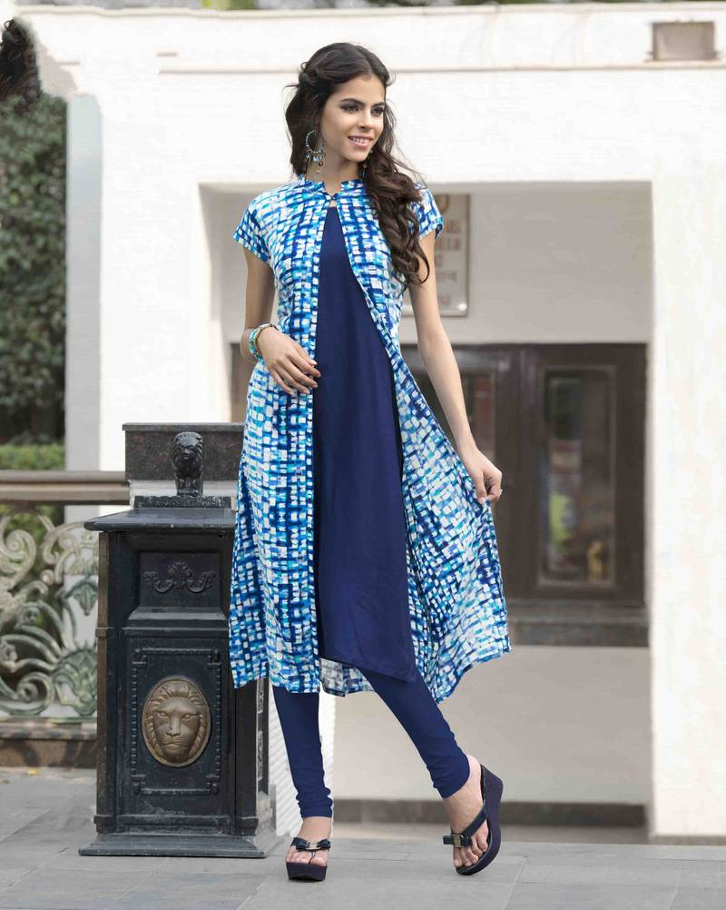 Buy Blue Printed Cotton Party Wear Kurtis Online