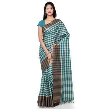 Green hand woven cotton silk saree with blouse