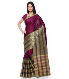 Buy Purple hand woven cotton silk saree with blouse handloom-saree online