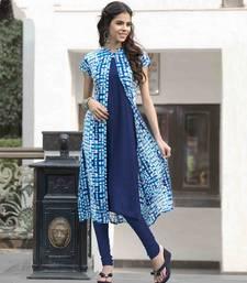 Buy Blue printed cotton party wear kurtis diwali-kurti online