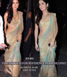 Buy Cream embroidered nylon saree with blouse katrina-kaif-saree online