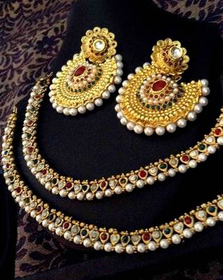 Indian Combo 26 : Maroon green pearl payal anklet & ethnic kundan earring a74 cb26