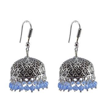 Tribal Jhumka With Tanzanite Crystals-Antique Silver Polished Jhumka-Punjabi Wedding jewelry