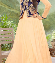 Buy beige embroidered net Semi-stitched Gown with jacket & dupatta evening-wear-dress online
