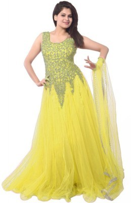 Women's Yellow Net Embroidered Semi-Stitched Gown Dress Material.