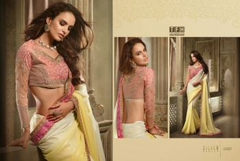 Yellow embroidered georgette saree with blouse