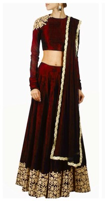 Maroon designer embroidered lehenga choli with matching dupatta for woman