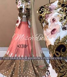 Buy Pink embroidered art silk unstitched lehenga lehenga-choli online