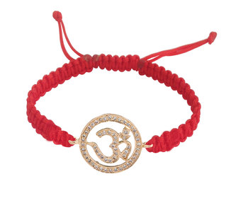 Om Bracelet in 14K Gold 18mm size studded with diamonds on adjustable nylon r...