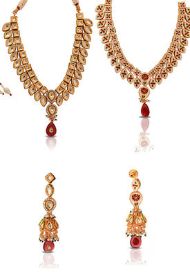 Kundan Set with Jhumkas by Just Women