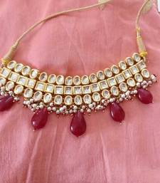 Buy Red gemstone drops kundan choker necklace Necklace online