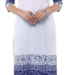 Buy White Crepe printed kurti pakistani-kurti online
