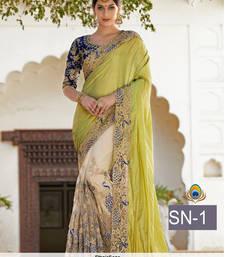 Buy Light yellow embroidered silk saree with blouse lehenga-saree online