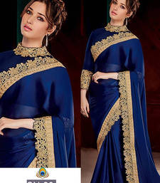 Buy Navy blue embroidered georgette saree with blouse tamanna-bhatia-saree online