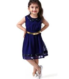 Buy Navy blue embroidery georgette kids dress Frocks gifts-for-kid online