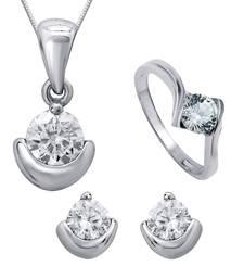 Buy Silver cubic zirconia jewellery-combo jewellery-combo online