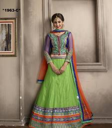 Buy Weding Special Offer Green Net embroidered unstitched lehenga-choli net-lehenga online