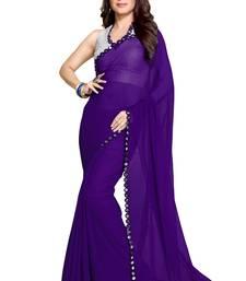 Buy Purple printed georgette saree with blouse georgette-saree online