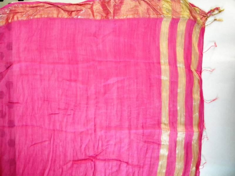 Cotton Vs Linen Curtains: Buy Pink Cotton Dupatta With Golden Zari Border Online