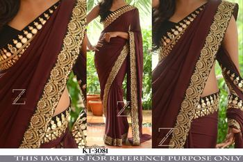 Brown embroidered georgette saree
