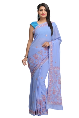 Mauve embroidered georgette saree with blouse