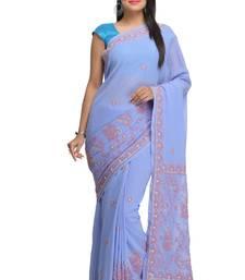 Buy Mauve embroidered georgette saree with blouse chikankari-sari online