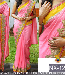 Buy Pink embroidered cotton saree with blouse hand-woven-saree online