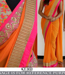Buy Multicolor embroidered georgette saree with blouse shimmer-saree online