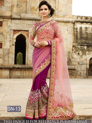 Magenta embroidered net saree with blouse