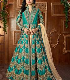 Buy Dark green embroidered art silk semi stitched salwar with dupatta abaya-suit online