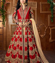 Buy Dark red embroidered art silk semi stitched salwar with dupatta party-wear-salwar-kameez online