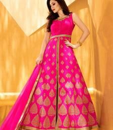 Buy pink embroidered silk semi stitched salwar with dupatta mehendi-ceremony-dress online